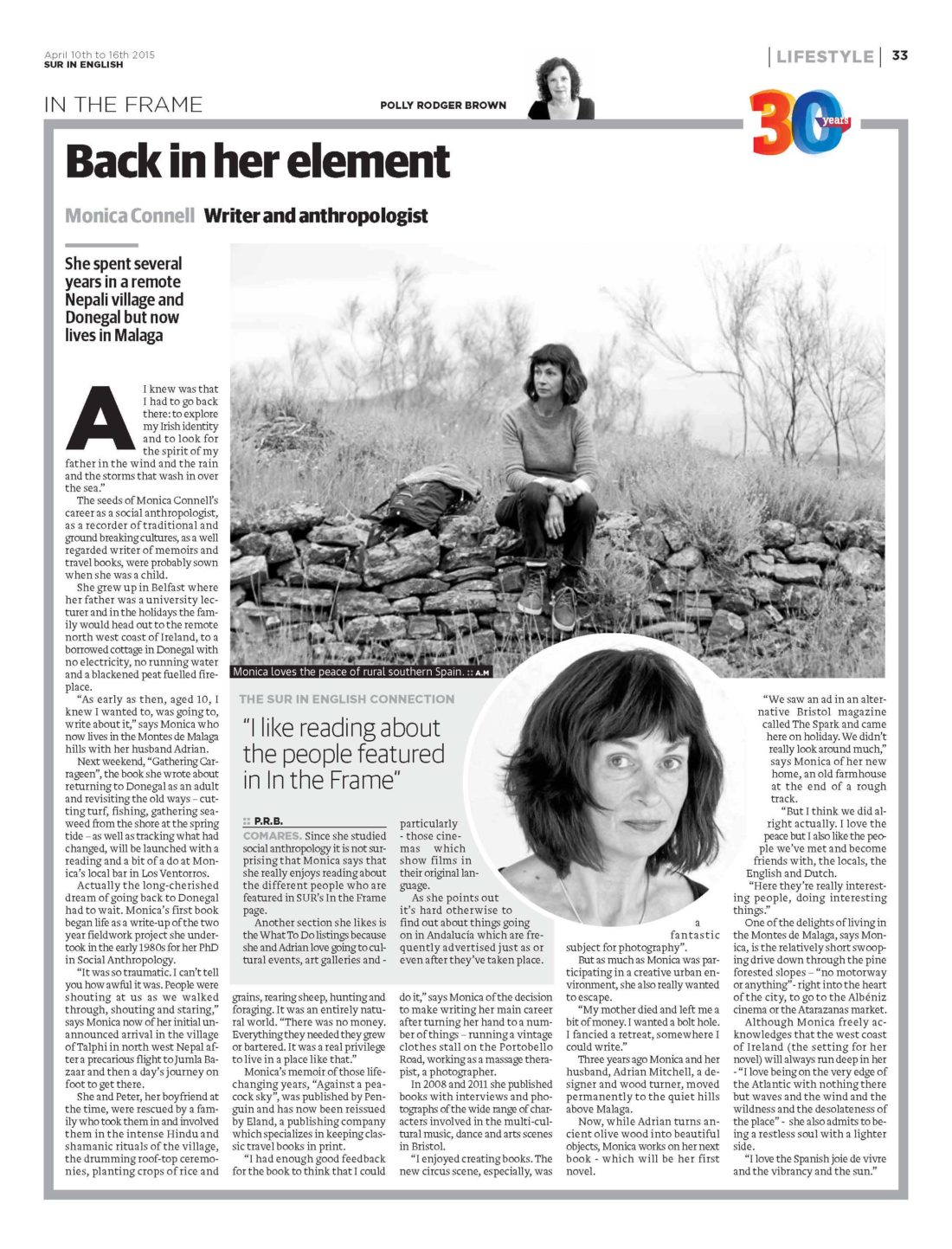 Monica Connell Article in Sur in English Newspaper -